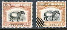 NORTH BORNEO 1909 Malayan Tapir both colours VFU TWO RARE VARIETIES RR!!