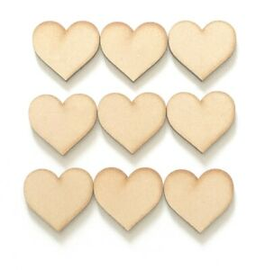 Wooden Heart 4mm Pack 5,10 15 Various Sizes Love Hearts Decorative Craft Shapes