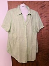 Basic Editions Size 1 X Woman's Short Sleeve Collared Blouse