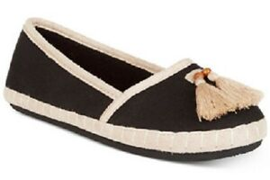 isotoner Totes Black Canvas Lola In/Outdoor Microterry Lined Tassel Slippers $28