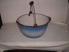 Blue & White Kettle Pan W/Spout-Wood & Side Handle Graniteware Enamel Porcelain