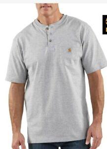 Carhartt Short Sleeve Henley Tshirt K84 New NWT Ash Grey Gray Large