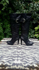 Vintage Black leather high heeled knee high platform boots UK size 7 EU 41