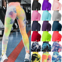 Women Yoga Pants Anti Cellulite High Waist Push Up Leggings Workout GYM Trousers