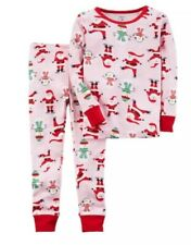NEW Nwt Carters Baby Girls Pink Santa & Snowman Christmas Pajama Set Sz: 12Mo