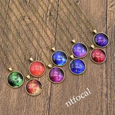 Vintage Glow In Dark Zodiac Cabochon Glass Necklace Constellation Silver Chain