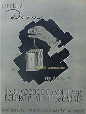 PUBLICITE DANA PARFUM TABU VOODOO CANOE EMIR BOLERO SIRE DE 1952 FRENCH AD PUB