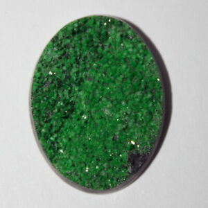 Uvarovite cabochon, green garnet cabochon
