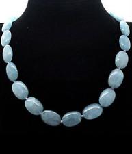 "13x18mm Natural Aquamarine Flat Oval GEMSTONE Beads Necklace 18 """