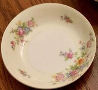 """Vtg Meito China Dessert Bowls Ivory Floral Gold Rim Japan 5.5"""" Set Of 3"""