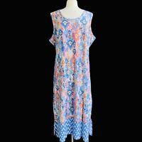 DENIM & CO Women's Petite Size 3X Blue Multi Tribal Border Printed Maxi Dress