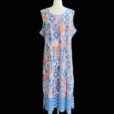DENIM & CO Women's Petite Size 3X Blue Multi Tribal Border Printed Maxi Dress