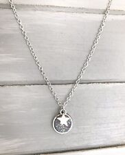 """Silver Star & Sparkly Druzy Wish Silver Plated 18"""" Necklace New in Gift Bag"""