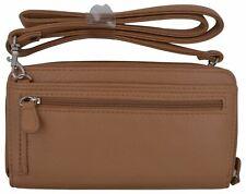 Buxton Pebbled Leather Double Zipper Womens Checkbook Organizer Purse Wallet