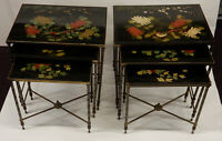 1970' Paire de Séries de 3 Tables Gigognes  Maison Bagués Laque De Chine