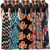 Women Casual Plus Size Maxi Boho Floral Printed Short Sleeves Tunic Long Dress