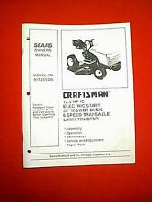 "SEARS CRAFTSMAN RIDING MOWER 12.5 HP 38"" 6 SPEED MODEL 917.255520 OWNER'S MANUAL"