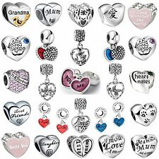 Special Words Love Shape Gift Bead Charms For 925 Sterling Silver 3mm Bracelets