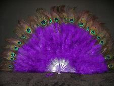 "MARABOU FEATHER FAN - PURPLE w/ Peaock 24"" x 14"" Burlesque/Costume/Halloween"