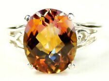 4.5 cts TWILIGHT FIRE TOPAZ Sterling Silver Ladies Ring -Handmade • SR139
