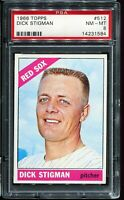 1966 Topps Baseball #512 DICK STIGMAN Boston Red Sox PSA 8 NM-MT