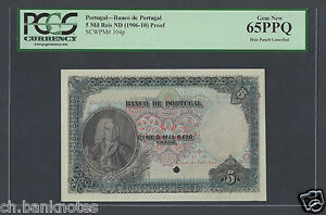 Portugal 5 Mil Ries  ND(1906-10) P104p Proof Specimen Uncirculated