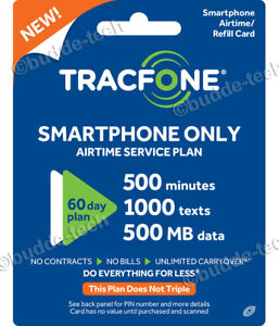 TracFone Smartphone Only Plan - 60 Days / 500 Minutes / 1000 Texts / 500 MB Data