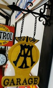 AA Garage Sign Double Sign Cast Iron with Bracket Automobilia Collectible