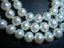 "9mm Cultured White Pearl 17"" NECKLACE Unused High quality knotted mint ster"