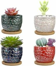 New listing Small Succulent Pots, 4 Pack 3.4 inch Cactus Plant Pot with Bamboo Trays
