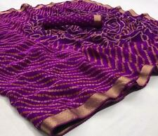 Purple Ethnic Bandhani Saree Sari Chiffon Wedding Wear Lace Work Printed Sari SS