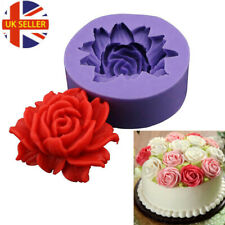 3D ROSE FLOWER Silicone Fondant Cake Topper Mold Mould Chocolate Candy Baking