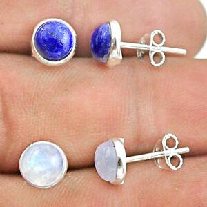 925 Silver 4.55cts Blue Lapis Lazuli Moonstone 2 Pair Studs Earrings T50867