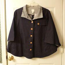 Chico Button Front Raglan Sleeve Cotton Blend Denim Poncho Cape sz One Size
