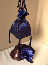 VICTORIAN TEA LADIES CIVIL WAR BLACK & ROYAL BLUE SATIN  LACE RETICULE PURSE