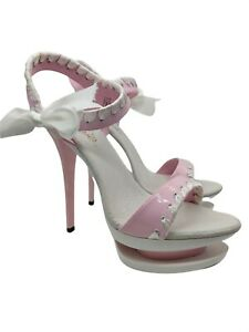 Pleaser womens pink and white patent stiletto heels size 5 uk used once.