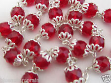 "† OLD STOCK VINTAGE STERLING DOUBLE FILIGREE CAPPED RED GLASS ROSARY 24"" 61 GR †"