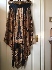 Silk/Satin effect assymetric hem strapless bandue dress Uk Size S BNWT