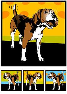 Beagle Hund Welpe Pop Art Retro Bild Poster Foto Bilder Portrait Porträt