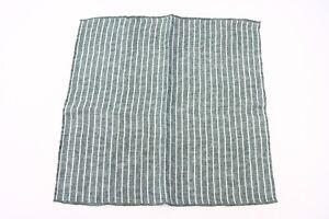 NWT Brunello Cucinelli Mens Linen-Cotton Knit Chalk-Striped Print Pocket Sq A176