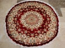 New Round Red Lovely Medallion Floral Hand Knotted Rug Wool Silk Carpet (4 x 4)'