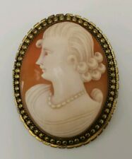 Vintage Art Deco Gold Gilt Pinchbeck Cameo Shell Portrait of Lady Pendant Brooch