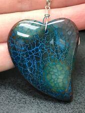 "Geode Agate Heart Snake Druzy Crystal Tibetan Silver 18"" Necklace D979"