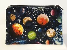 Handmade Zippy Cotton Fabric Coin Purse/Wallet  -  Space/Planets Design