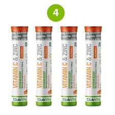 Vitamin C 1000mg & Zinc 15mg 80 Effervescent Tablets Orange Flavour | ClubVits
