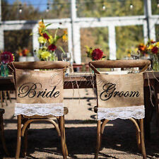 Bride & Groom Burlap Lace Chair Signs Rustic Country Wedding Chair Banner Decor