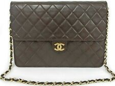 CHANEL Brown Quilted Lambskin Matelasse Push Lock Flap Chain Shoulder Bag France