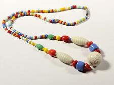 Vintage Czech necklace Egyptian revival seed Uranium ribbed carved glass beads