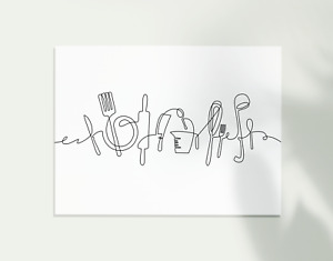 Abstract Continuous One Line Drawing Wall Art Poster. Kitchen Utensils Picture