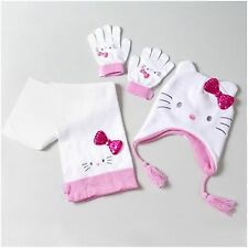 Hello Kitty Scarf Trapper Hat Cap Gloves Winter Set of 3 White Sparkle Sanrio